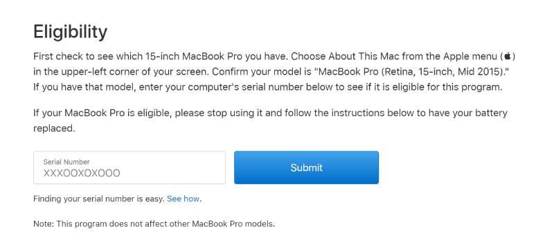 صفحة الدعم من شركة آبل الخاصة بوجود مشكلة في بطارية ماك بوك برو