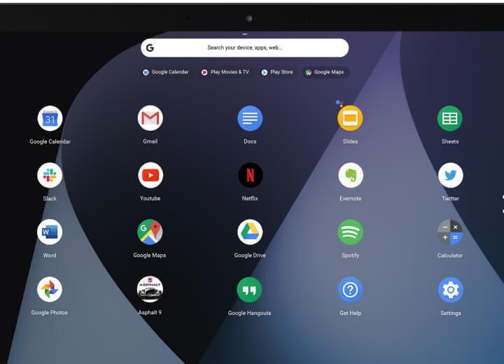 واجهة نظام التشغيل كروم لأجهزة كروم بوك Chromebook