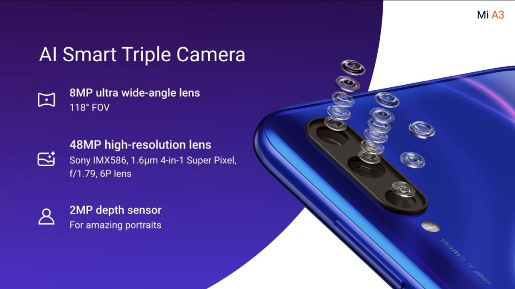 Xiaomi Mi A3 شاومي مي ايه 3 مزود بثلاثة كاميرات خلفية
