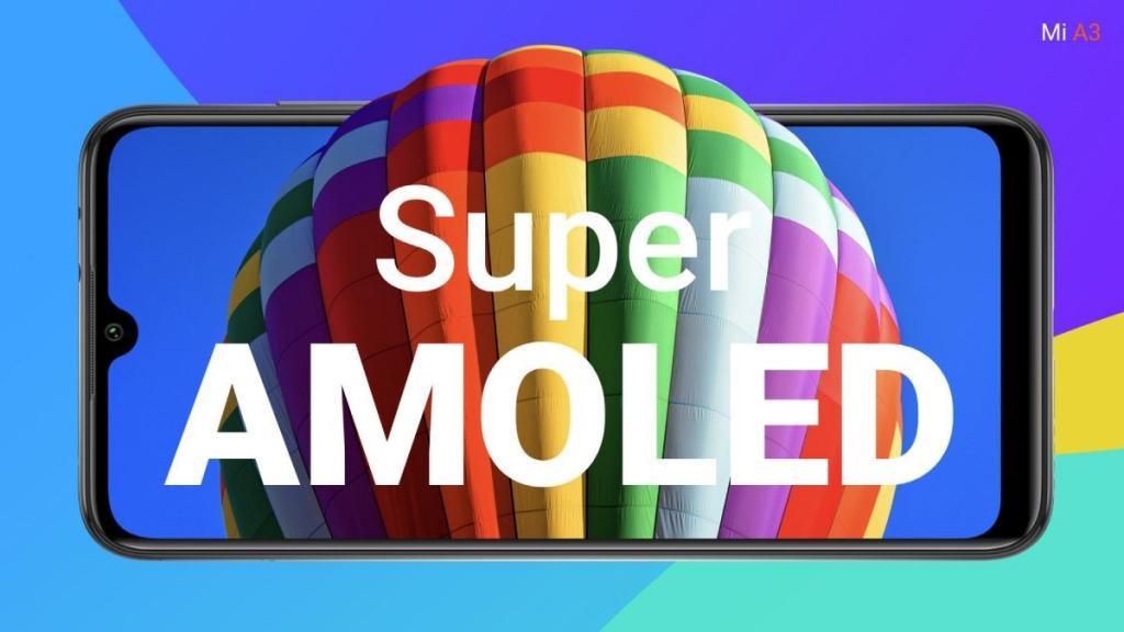يأتي Xiaomi Mi A3 مزودا بشاشة Super Amoled مدمج بها مستشعر للبصمات