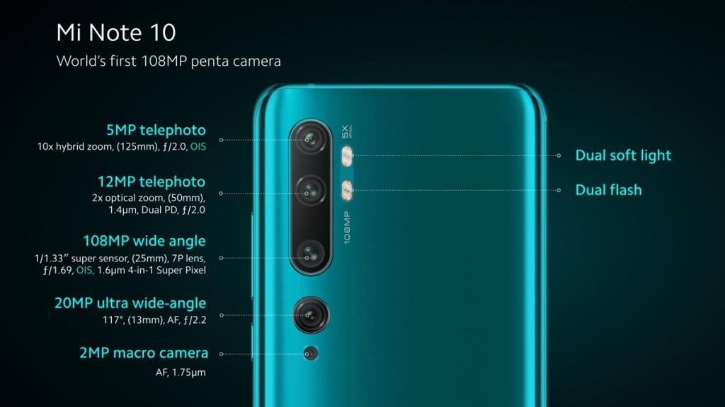 زودت شاومي هاتفها الذكي الجديد Mi Note 10 مي نوت بخمس كاميرات خلفية