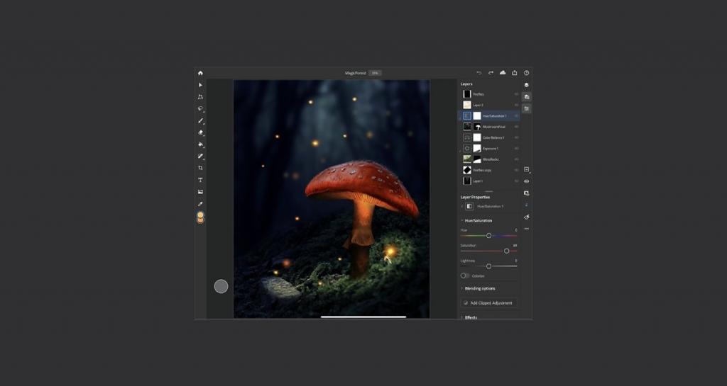 يوفر فوتوشوب لايباد نفس مميزات البرنامج لأجهزة الكمبيوتر