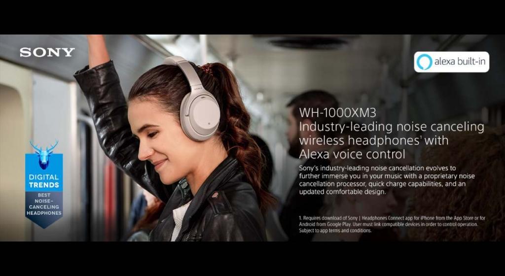سماعة الرأس اللاسلكية Sony WH1000XM3 -  أفضل سماعات الرأس اللاسلكية
