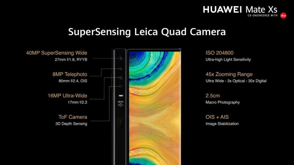 يحمل HUAWEI mate xs 4 كاميرات يمكن استخدامهم لصور السيلفي