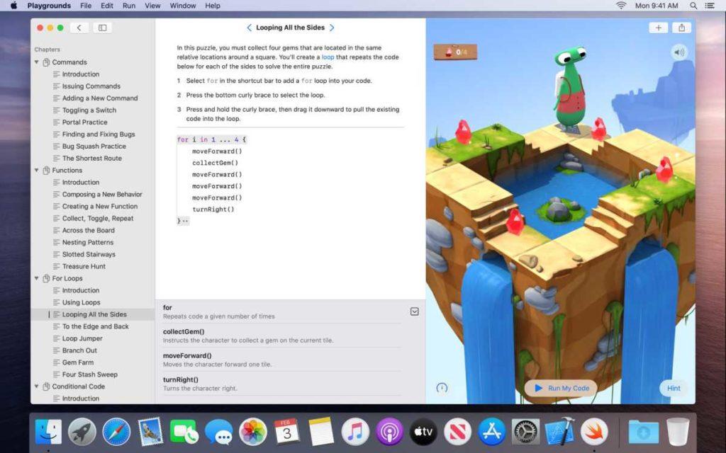 واجهة تطبيق Swift Playgrounds