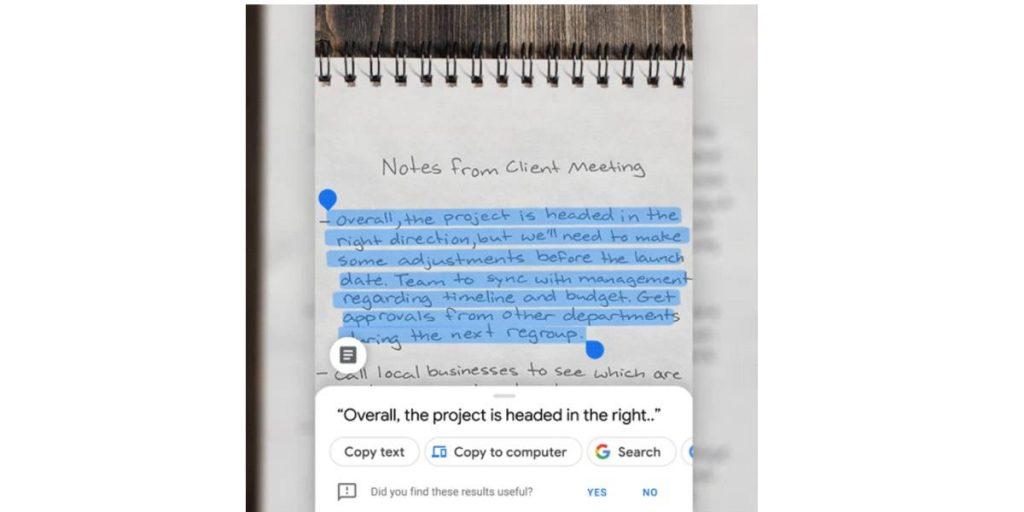 كيفية نسخ النصوص من الصور ولصقها على جهاز الكمبيوتر عدسة google