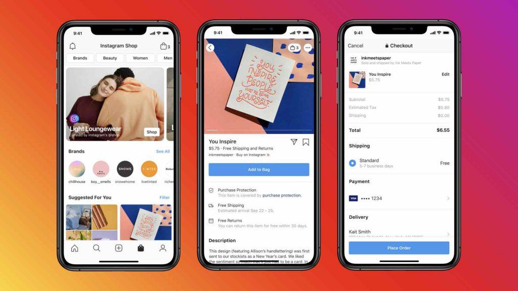 يمكن الوصول إلى متاجر Facebook Shops من خلال انستجرام