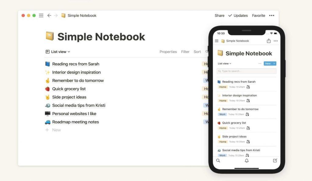 يوفر تطبيق Notion للمستخدم أيضا أكثر من 50 نموذج مختلف يمكن الاعتماد عليه