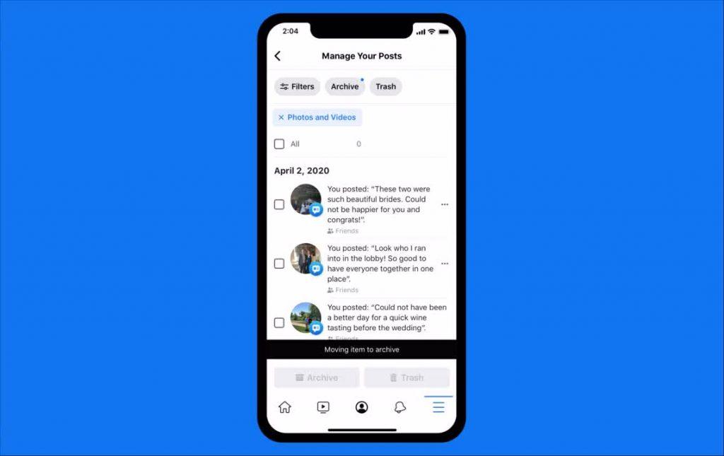 تسمح ميزة  Manage Activity في فيسبوك بفرز المشاركات بسهولة وأرشفتها أو حذفها