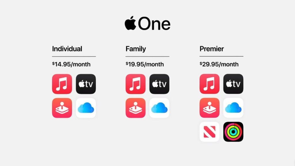 تتوفر خدمة ابل وان Apple One الجديدة في ثلاثة باقات باشتراك شهري