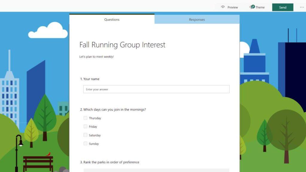 خدمة النماذج Microsoft Forms