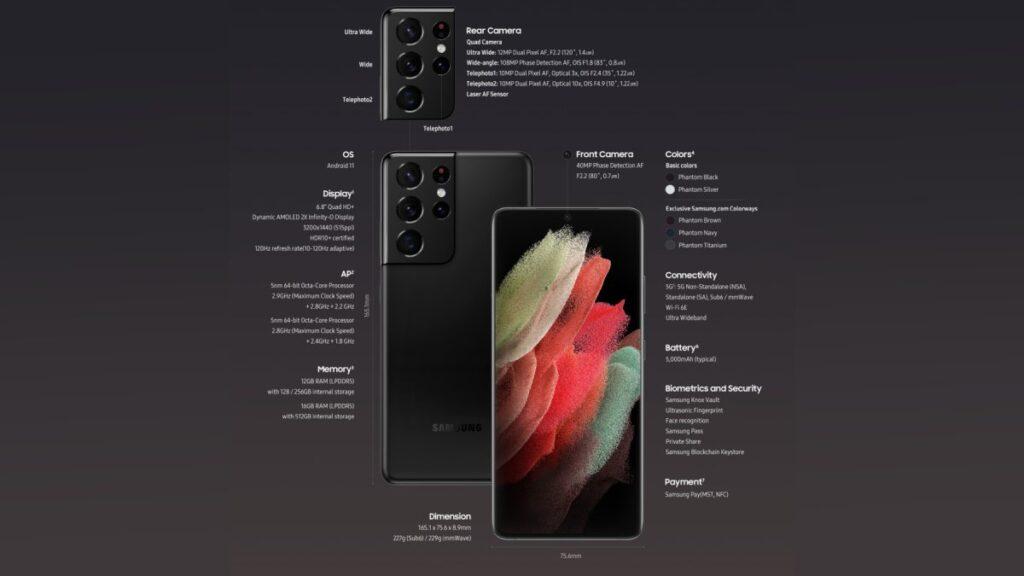 مواصفات سامسونج جالاكسي اس 21 الترا Samsung Galaxy S21 Ultra