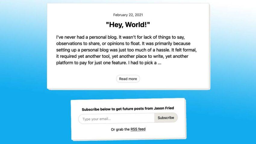 ميزة Hey World للتدوين والرسائل البريدية