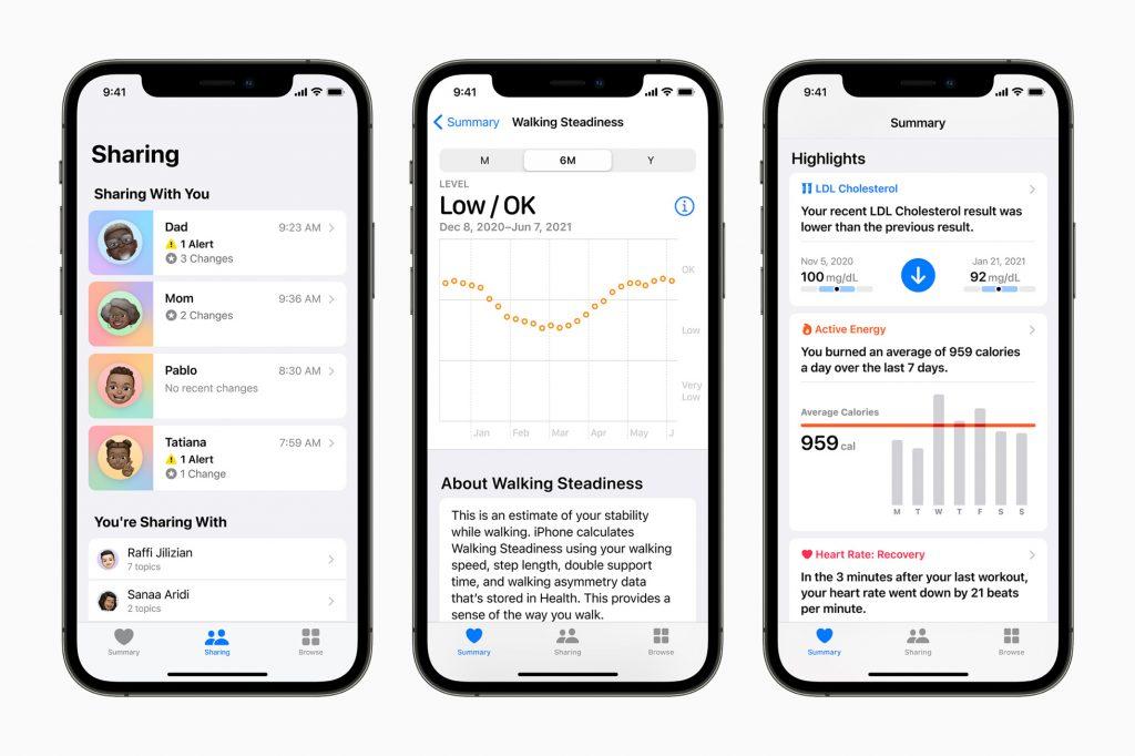 مميزات تطبيق الصحة Apple Health الجديدة