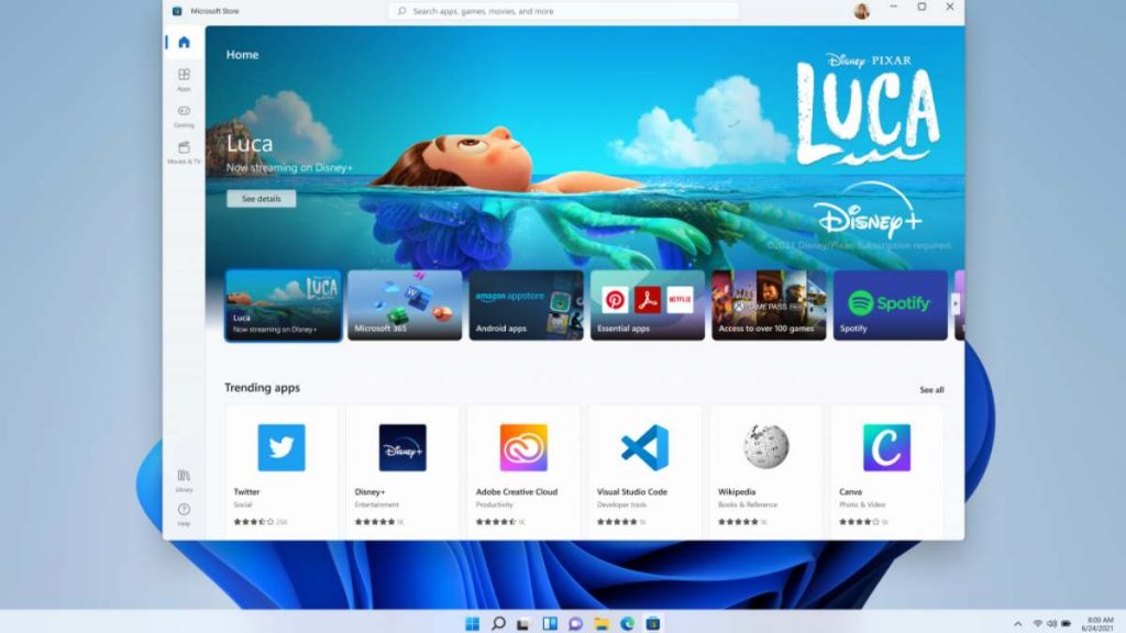 متجر جديد للتطبيقات Microsoft Store في ويندوز 11