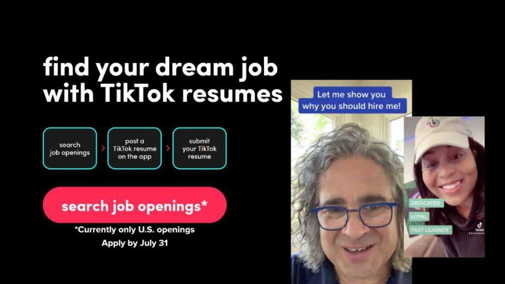 قالت تيك توك أن أداة التوظيف TikTok Resumes متوفرة الآن للمستخدمين تجريبيا